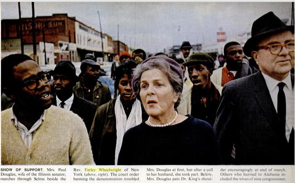 "Farley Wheelwright (far right) marching in Selma; from ""The Savage Season Begins,"" Life magazine, March 19, 1965, p. 34."