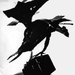 "Crow, scrap metal sculpture, 18""H"