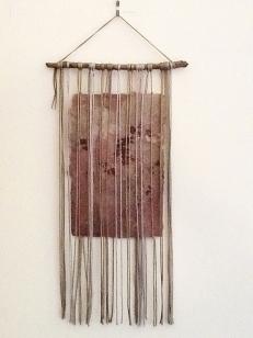 "Weeds, silk, handmade paper, 9x16"""